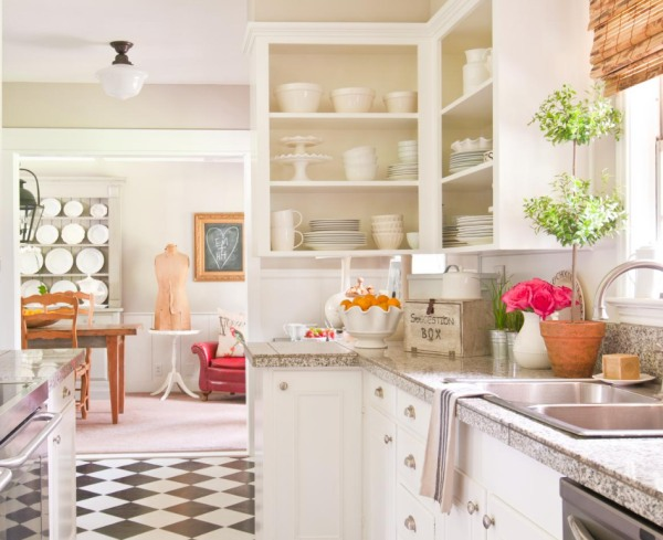 Vintage Cottage Kitchen With Top Kitchen Cabinets Sans Doors And White  Raised Panel Base Kitchen Cabinets Paired With Laminate Kitchen Countertops.