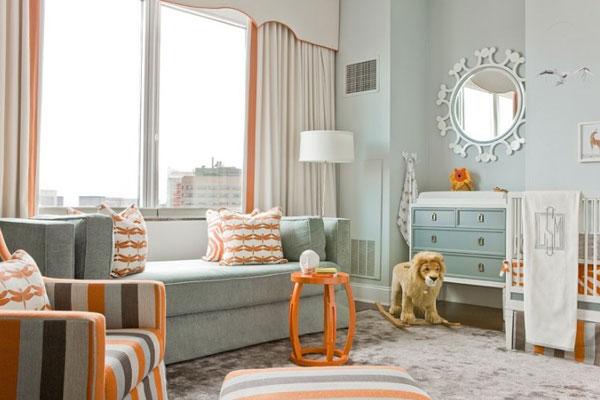 Blue and orange nursery contemporary nursery lovejoy - Orange and blue decor ...