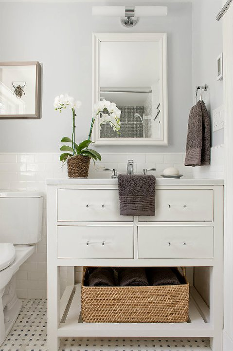 Restoration hardware washstand transitional bathroom for Best brand of paint for kitchen cabinets with bathroom wall art sets