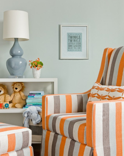 Grey And Orange Nursery Contemporary Nursery Lovejoy