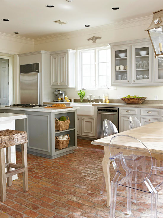 Brick Floor Kitchen - Cottage - kitchen - BHG