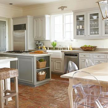 Brick Floor Kitchen, Cottage, kitchen, BHG