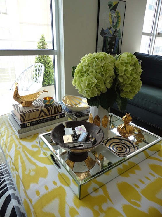 Yellow Ikat Ottoman Coffee Table