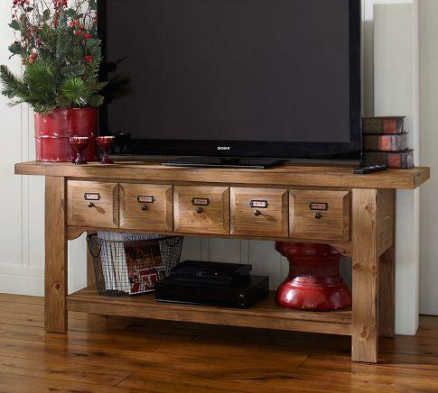 Ridgely Workbench Media Console Pottery Barn