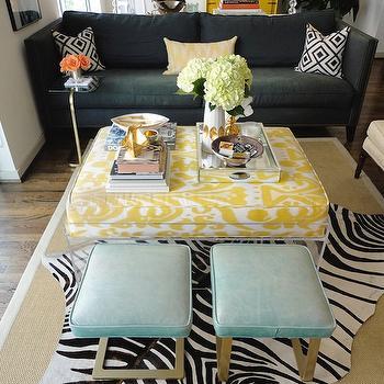 Teal Ottomans, Contemporary, living room, La Dolce Vita