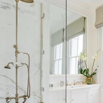 Exposed Plumbing Shower, Transitional, bathroom
