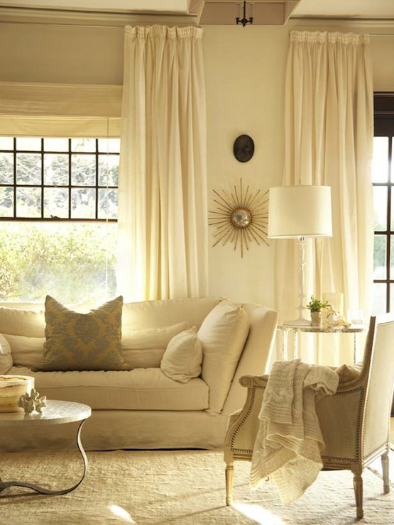 Monochromatic Living Room Transitional Living Room
