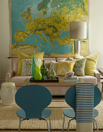 Contemporary Blue And Yellow Living Room With Incredible World Wall Map And  Oatmeal Sofa With Yellow And Aqua Throw Pillows.