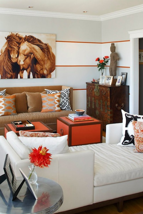 Tete a tete sofa contemporary living room artistic - Orange and brown living room ideas ...