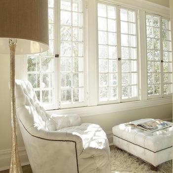 White Tufted Chair, Transitional, living room, Lisa Sherry Interieurs