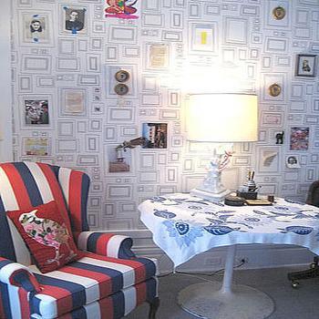 Frames Wallpaper, Eclectic, living room, Lisa Sherry Interieurs