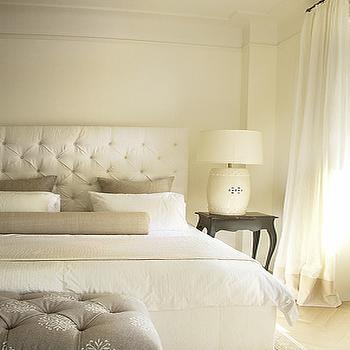 Cream Velvet Tufted Headboard, Contemporary, bedroom, Lisa Sherry Interieurs