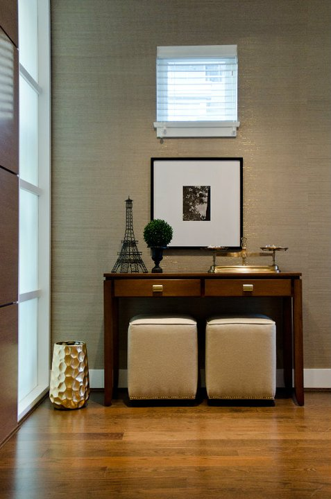 Modern Foyers : Metallic grasscloth wallpaper contemporary entrance
