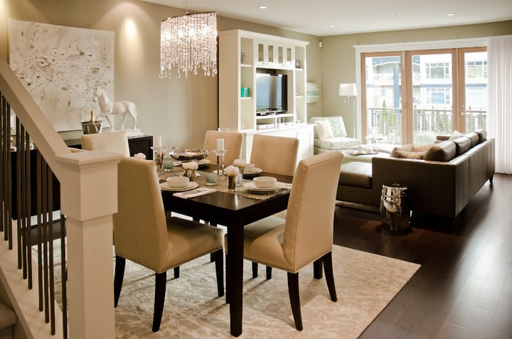 Chic Open Floor Plan With Dining Room Opening To Living Room.