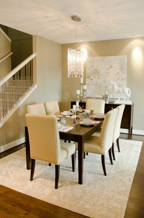 Chic Dining Room With Gray Walls Paint Color Lovely Botanical Canvas Art Over Contemporary Espresso Buffet Glossy White Horse Statue And