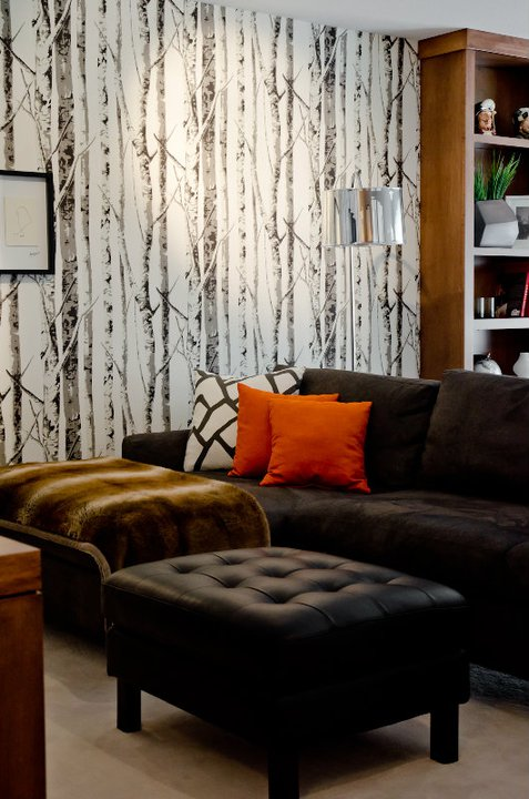 White Sofa With Black Pillows And Orange Curtains Contemporary Living Room