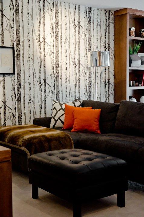 Charcoal Gray Velvet Sofa Contemporary Media Room