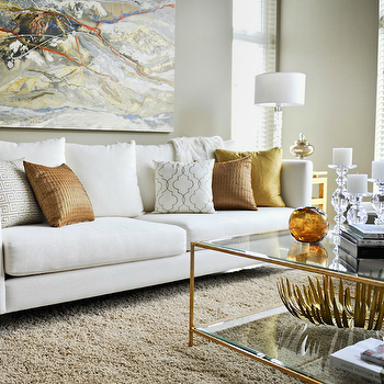Brass Coffee Table View Full Size. Contemporary Living Room With White ...