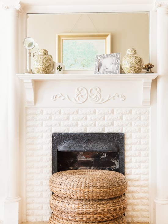 White Brick Fireplace Design Ideas