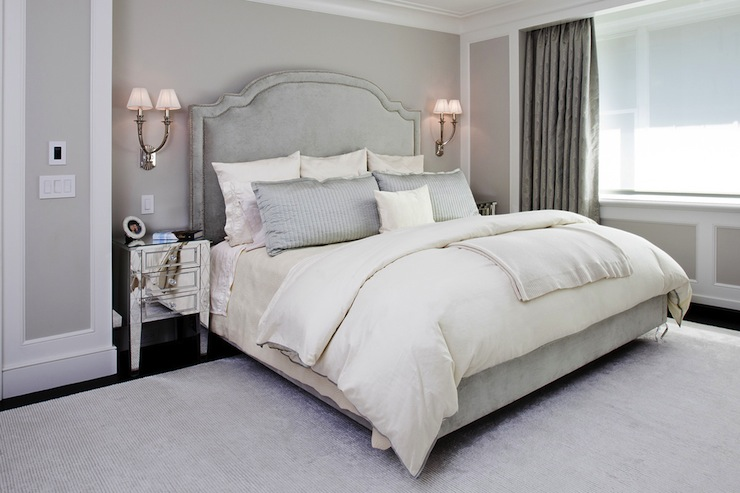 Gray bedroom transitional bedroom grade architecture for Bedroom ideas velvet bed
