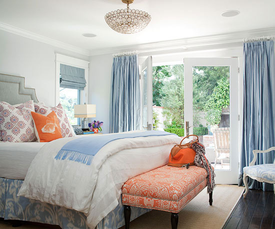 orange and light blue bedroom blue and gray bedroom cottage bedroom bhg 19352