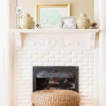 White Brick Fireplace, Cottage, living room, BHG