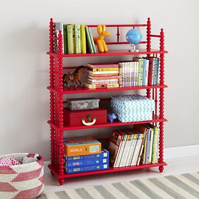 Kids Raspberry Red Spindle Bookcase, Land Of Nod Furniture