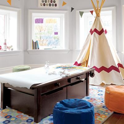 kids espresso adjustable wooden activity table land of nod. Black Bedroom Furniture Sets. Home Design Ideas