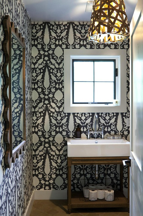 Chenonceau wallpaper contemporary bathroom rhdesign for Modern bathroom wallpaper
