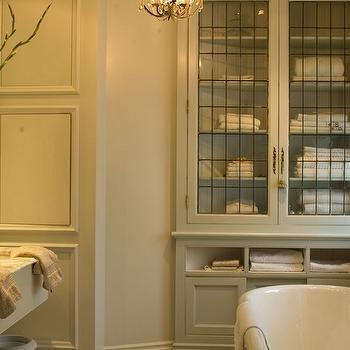 with gray built in bathroom cabinets with leaded glass cabinet