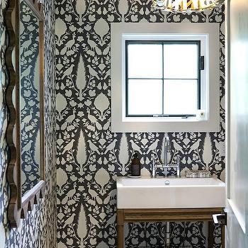 Chenonceau Wallpaper, Contemporary, bathroom, RhDesign