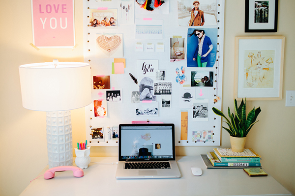 Chic, Fun Office With White Greek Key Column Lamp, White Pin Board With  Nailhead Trim Eclectic Art Gallery, Office Cactus And La La Love You Print.