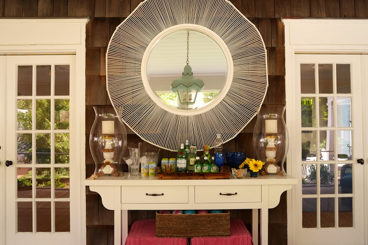 Ottomans Under Console Table Design Ideas