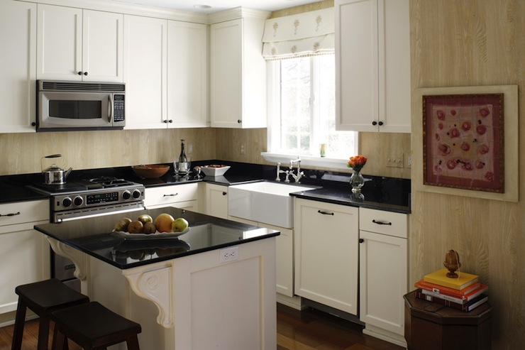shaped kitchen with faux bois wallpaper used as kitchen backsplash