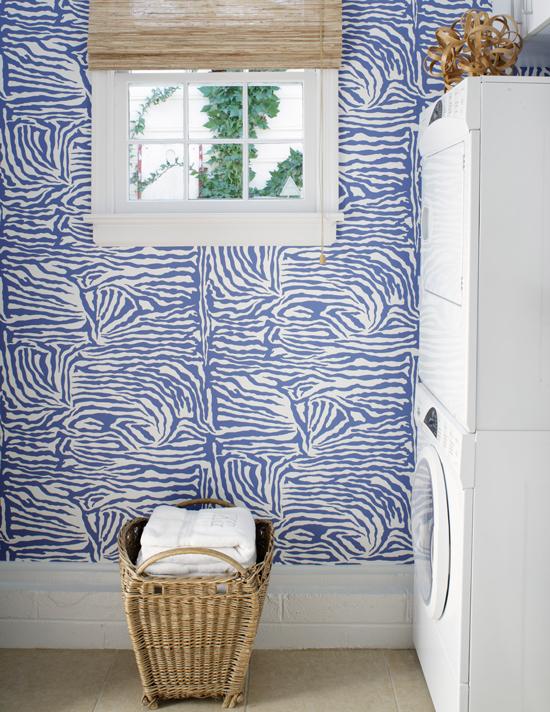 Zebra Wallpaper Contemporary Laundry Room Suellen Gregory