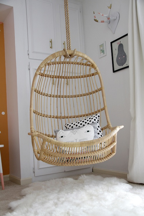 Superb Twou0027s Company Hanging Rattan Chair