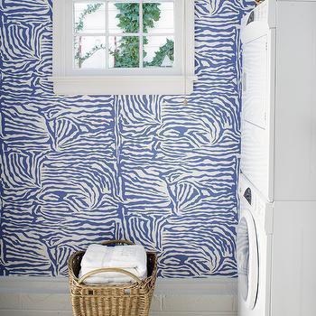 Zebra Wallpaper, Contemporary, laundry room, Suellen Gregory