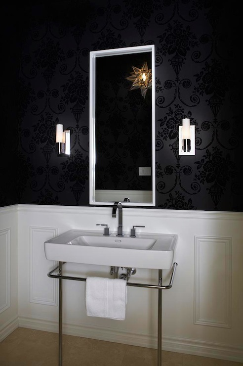 Black and white powder room transitional bathroom for Dark bathroom wallpaper