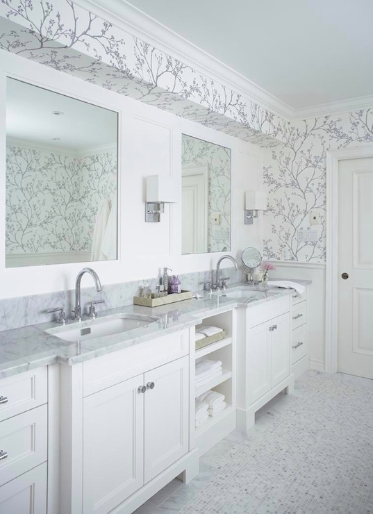 Metallic silver wallpaper transitional bathroom for Blue and silver bathroom sets