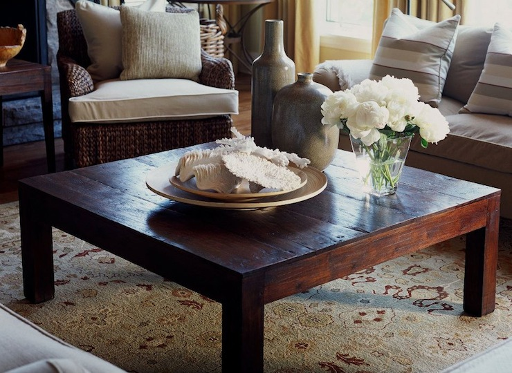 Wood Plank Coffee Table Country Living Room Jennifer