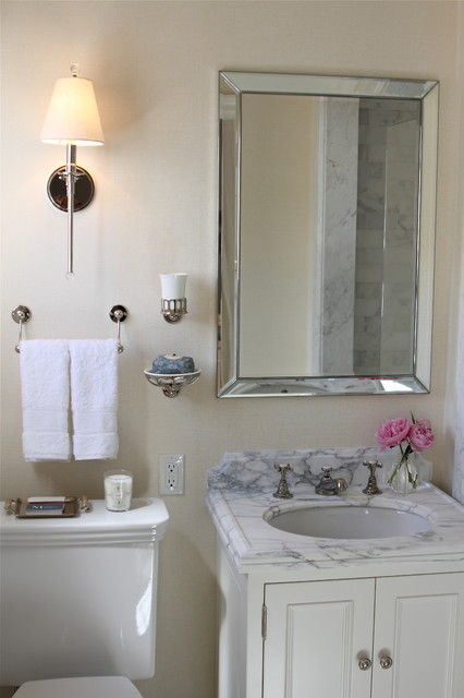 Stunning Traditional Bathroom With Restoration Hardware Venetian Beaded Mirror Newell Wall Mounted Single Arm Sconce Cone Shade Installed Over