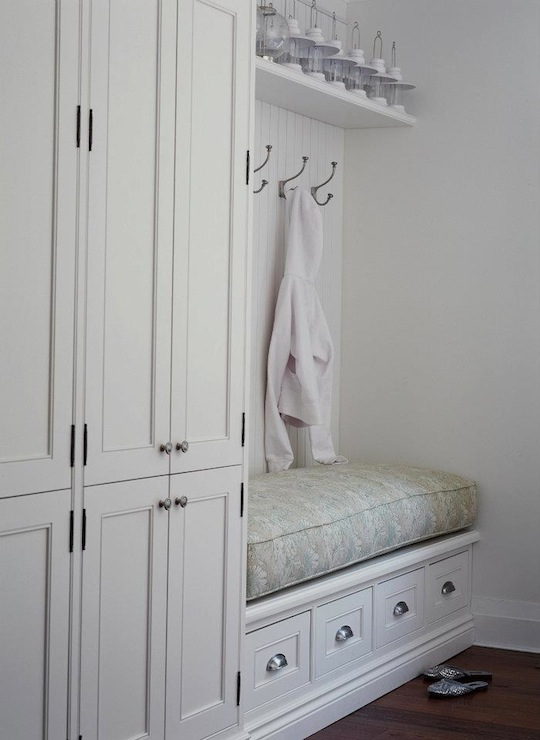Built In Storage Bench Cottage Laundry Room Jennifer Worts Design