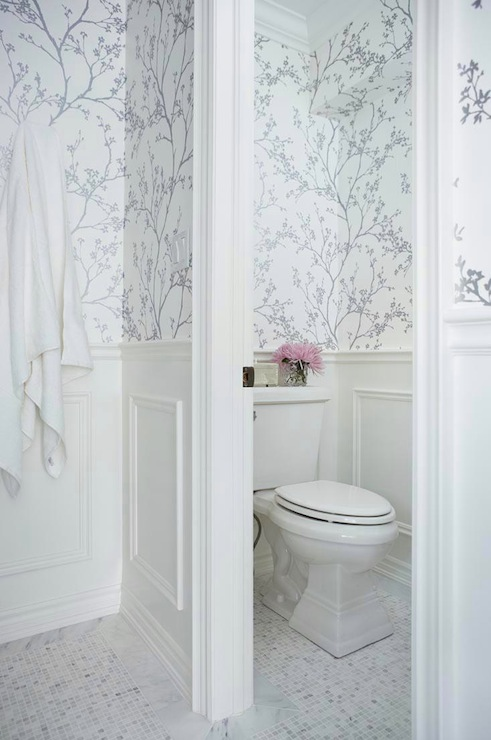 metallic silver wallpaper transitional bathroom