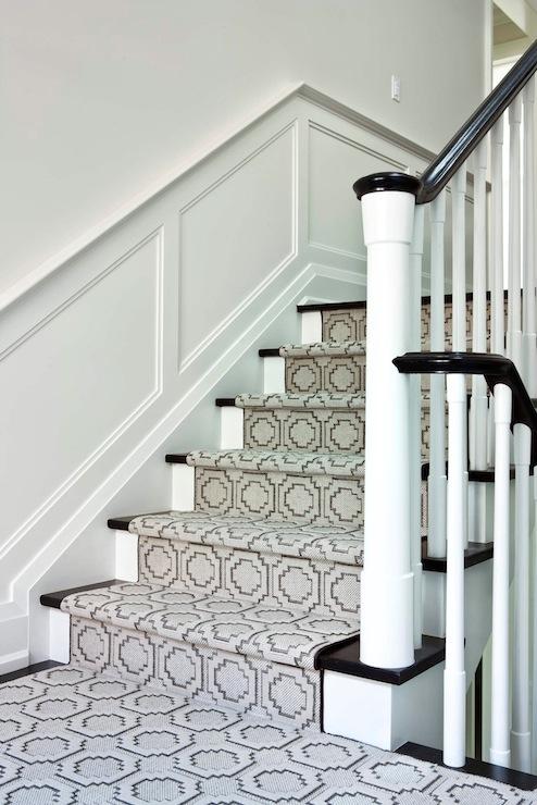 Geometric Stair Runner Transitional Entrancefoyer