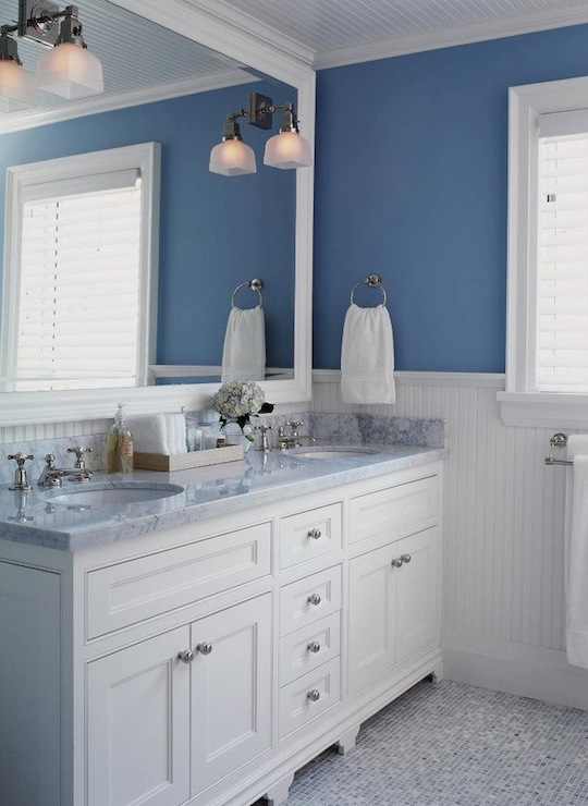 White and blue bathroom transitional bathroom jennifer worts design - Bathroom decorating ideas blue walls ...