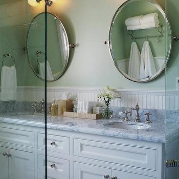 Oval Pivot Mirrors, Cottage, bathroom, Jennifer Worts Design