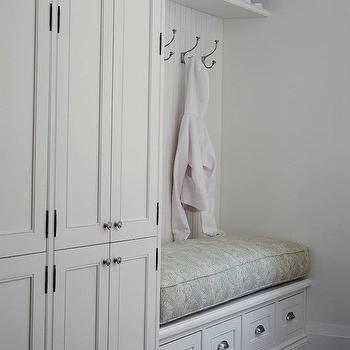 Built In Storage Bench, Cottage, laundry room, Jennifer Worts Design