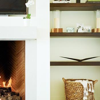 Herringbone Firebox, Contemporary, living room, Restoration Hardware Mediterranean White, Design Sponge