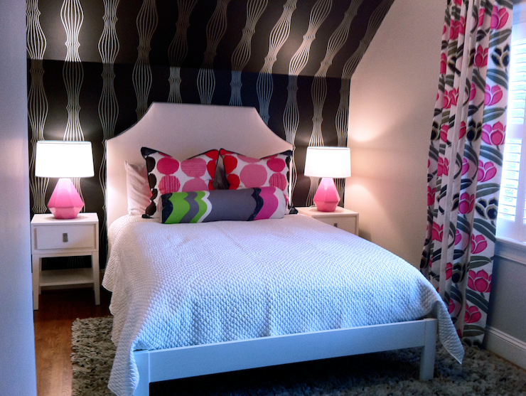 Black and pink teen room contemporary girl 39 s room for Black and pink teenage bedroom ideas