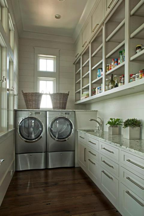 Fantastic Gray Laundry Room With Mounds Of Shelving And Drawer Storage Space